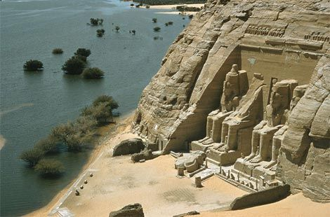 Abu Simbel - a temple carved out of living rock on the west bank of the Nile.  Commissioned by Pharoah Ramses II in 1257 BCE and dedicated to the gods Amon-Re, and Re-Horakhte (and also to Ramses himself)