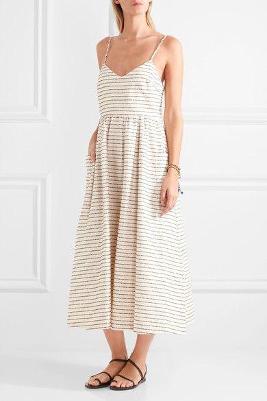 MARA HOFFMAN Striped cotton-blend midi dress