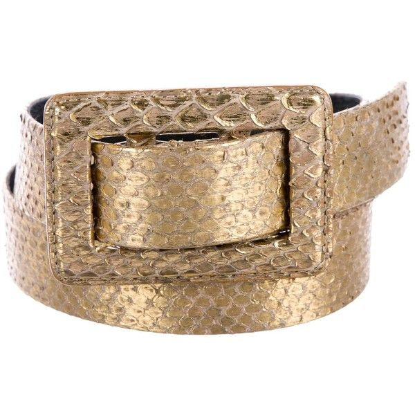 Pre-owned Oscar de la Renta Python Buckle Belt (570 BRL) ❤ liked on Polyvore featuring accessories, belts, animal print, buckle belt, snake print belt, gold buckle belt, animal print belt and oscar de la renta belt