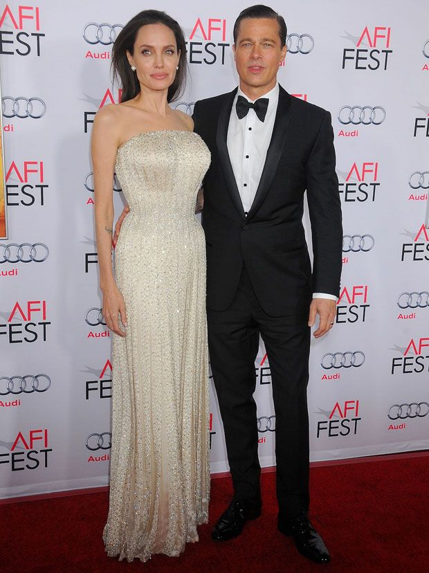 #AngelinaJolie in Atelier #Versace and #BradPitt - 'By the Sea' AFI FEST 2015 Opening Night Premiere