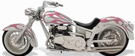 Motorcycle White Motorcycle Cars: Pearl White Harley With Pink Flames :)