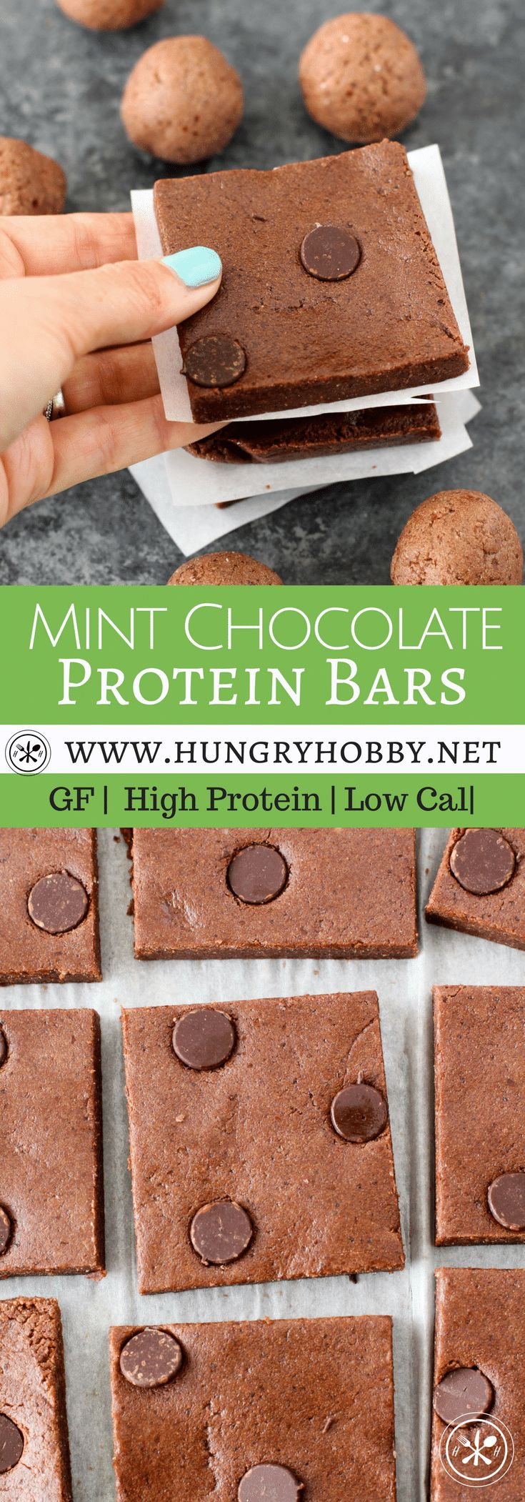 Mint Chocolate Protein Bars are delicious make at home protein bars with 14 grams of protein that come together in less than 5 minutes!