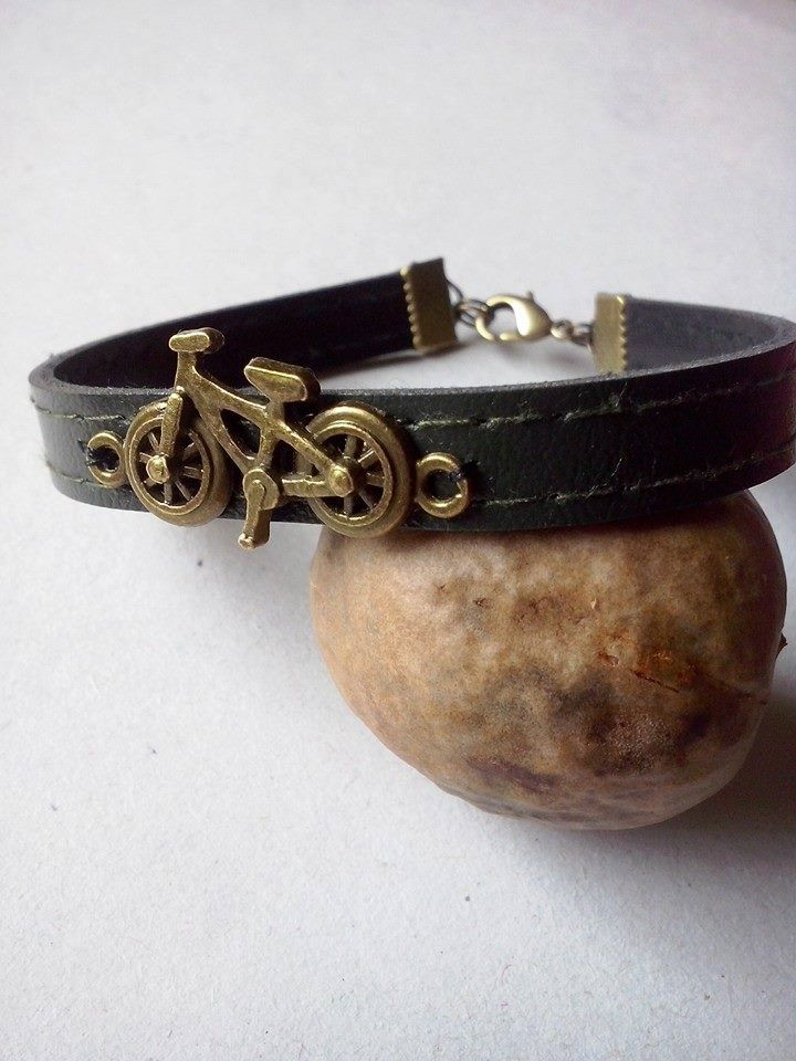 Jewelry for MEN ,love bike bracelet,triathlon bracelet ,leather bracelet by TriJewelry on Etsy