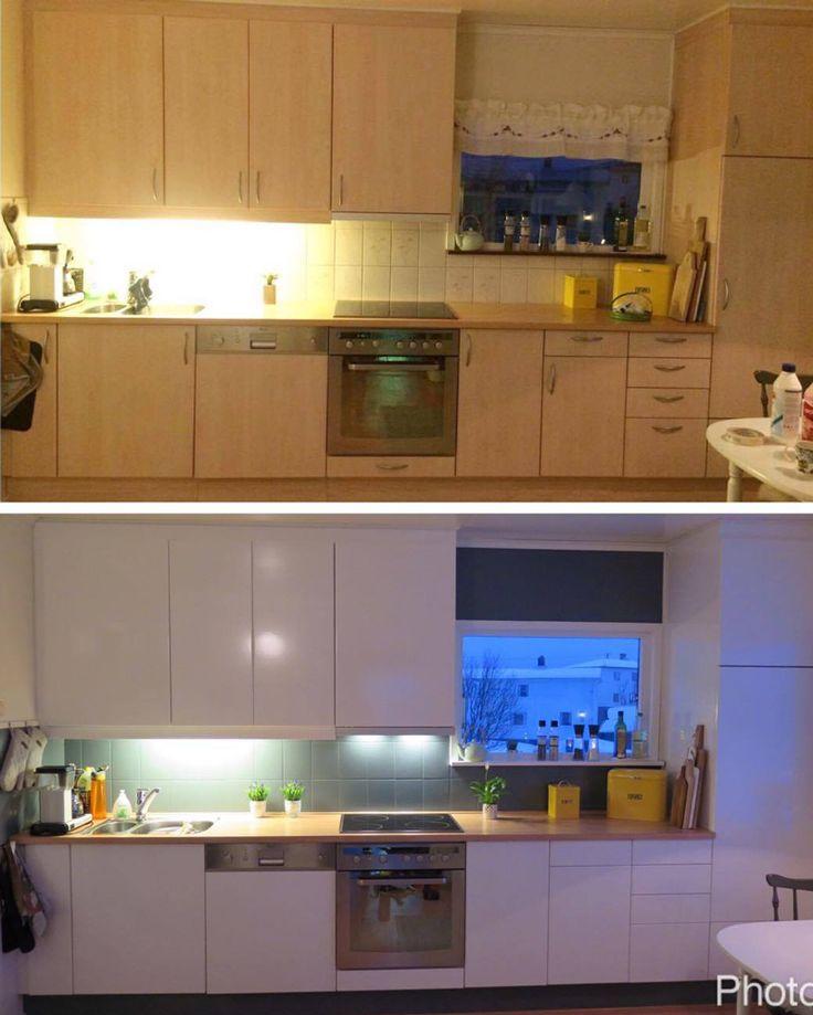 FØR OG ETTER - Nytt kjøkken med selvklebende folie i hvit. Lindas Dekor.   #kontaktplast #kjøkken #interiør #inspirasjon