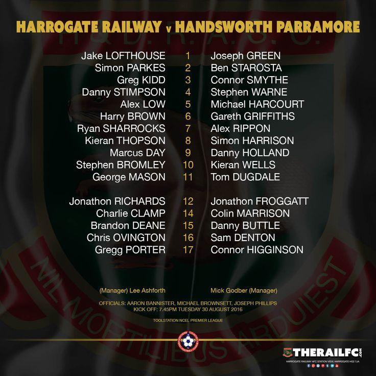 The teams for tonight's NCEL Premier League clash    @therailfc @HandsworthPFC @Edwhite2507