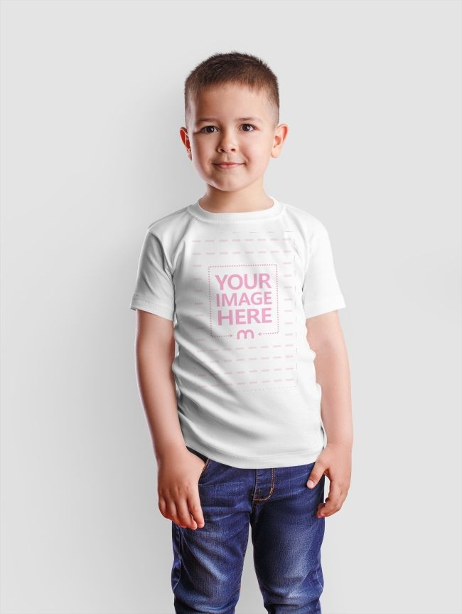 Download This Mockup Template Features The Front Side Of A T Shirt With A Small Boy As A Model Clothing Mockup Shirt Mockup Small Boy