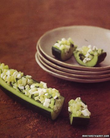 Cucumber Tapas - Martha Stewart Recipes - Great appetizer idea that is easy, quick, and healthy. Filling could be adapted in a number of ways, but this presentation sure is pretty.