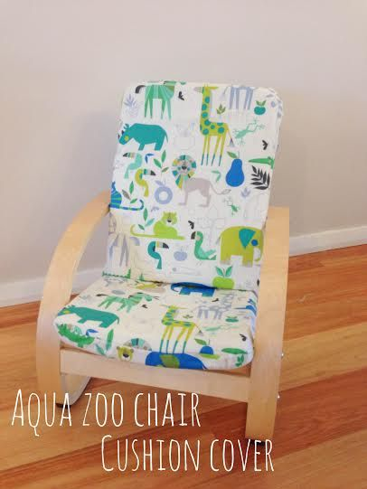 Such a great way to add colour to any nursery or kids bedroom! This custom made jungle themed chair cover in blue turquoise and lime green!