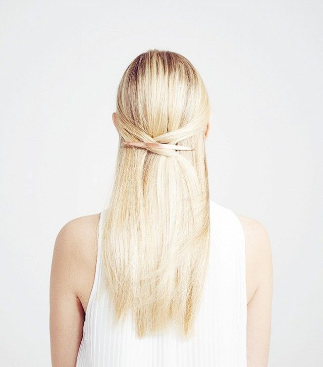 Beautiful blond with cross half updo