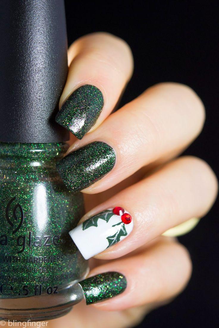 """blingfinger: """" Christmas Holly Tutorial on the blog (blingfinger.net) """""""