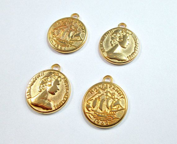 Gold plated vintage coin charms 2 coins by OandN on Etsy