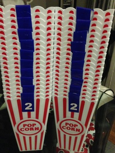 Dollar Tree popcorn containers as goodie bags