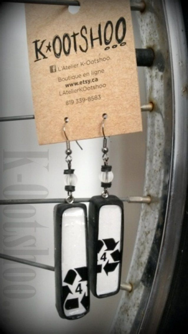 Recycling handmade earrings 20$ // Boucles d'oreilles recyclées faites à la main 20$
