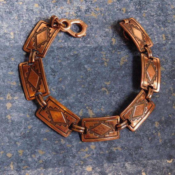 Navajo Style Engraved Southwestern Copper Earrings Vintage 1960s Native American Design Screw Back Earrings