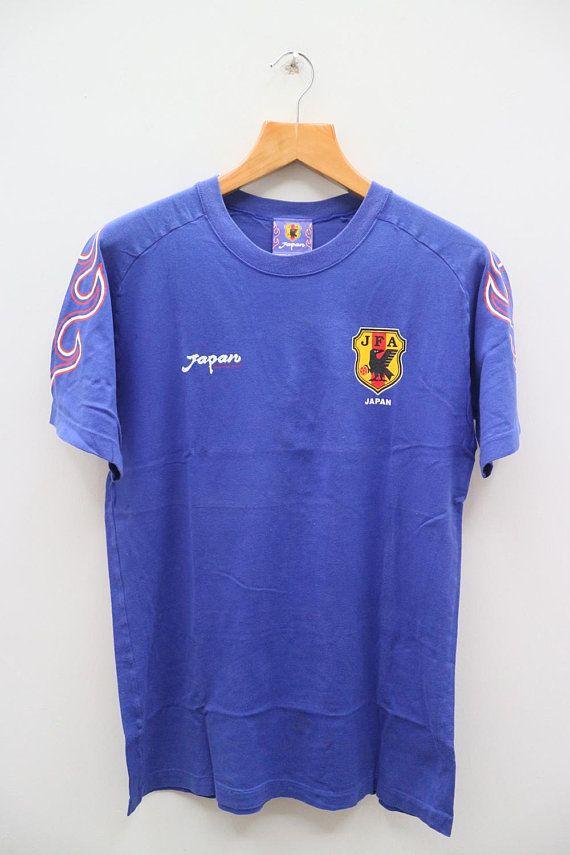 e294a74f1f2 Vintage JFA Japan Football Association Small Logo Sportswear Blue Tee T  Shirt