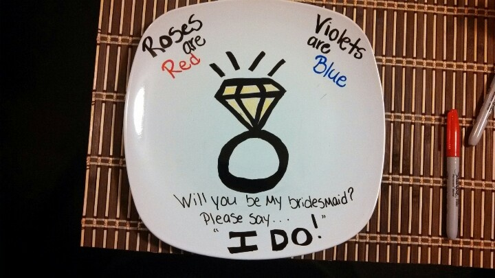 Unique way to ask bridesmaid to be in your wedding..write on plate with Sharpie and bake for 30 mins at 350!