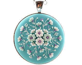 Floral Pendant Necklace Bouquet • Filigree • Polymer clay applique • Polymer clay embroidery • Fashion jewelry • Turquoise pendant