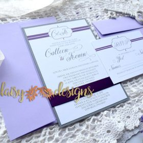 Simple elegance of this wedding suite, Plum Lines suite is shown with lilac envelopes & plum satin ribbon as upgrades