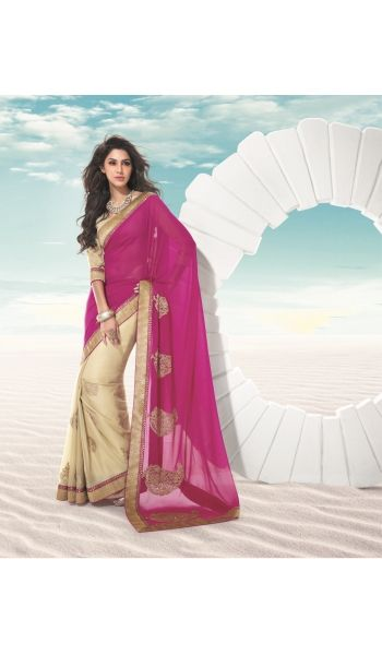 #Exclusive #R #Rajkumar collection of heavy #party wear half-half #georgette fabric #saree with embroidered butta and heavy embroidered border. It comes with fancy fabric designer blouse.