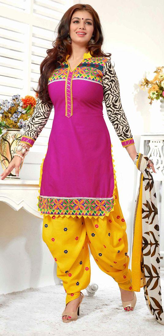 USD 18.10 Ayesha Takia Pink Cotton Patiala Salwar Suit 44560
