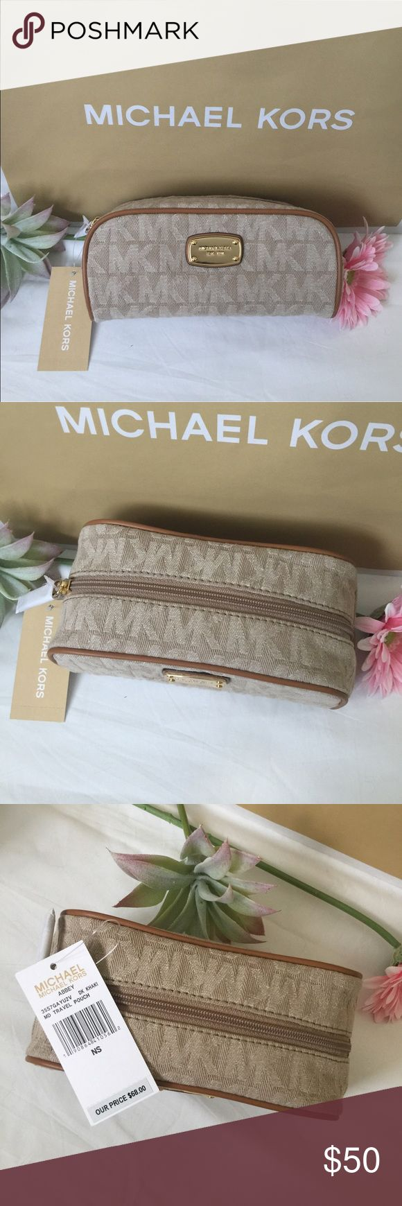 """Michael Kors Cosmetic Bag. Price firm. Michael Kors cosmetic bag. Measures 7.5"""" L x 3.5"""" H x 3.5"""" D It is denim material with luggage leather trim Zip around style with leather pull Gold-tone designer plate on front  Flat bottom to make stand up a breeze Interior: one slip pocket with leather MK patch Care card included Color-Khaki Michael Kors Bags Cosmetic Bags & Cases"""