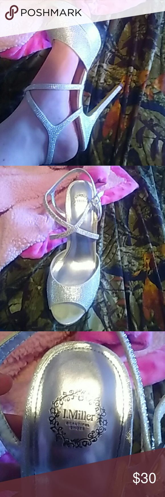 I.Miller High Heels One been worn once for prom there really shiny. The bottoms are a little rough from the stone . but other than that great condition not sure how tall the heels are. I.Miller  Shoes Heels