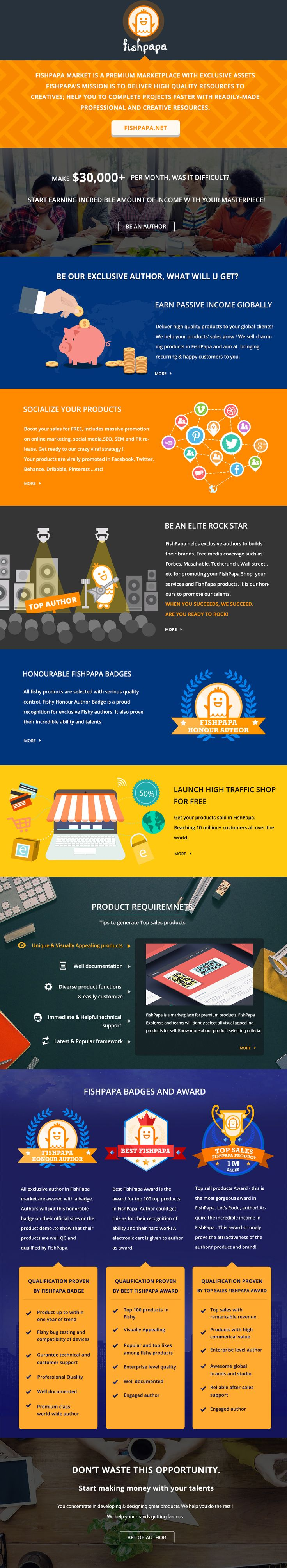 Become FishPapa Authors can gain passive income with your masterpieces! FishPapa is a creative community with strong creatives' work. Simple registration and upload your products! We are now welcomes to all web template works and products. Find us from the following website. #webtemplate #website #webdesign #websiteresources #creativedesign #webdesigninspiration