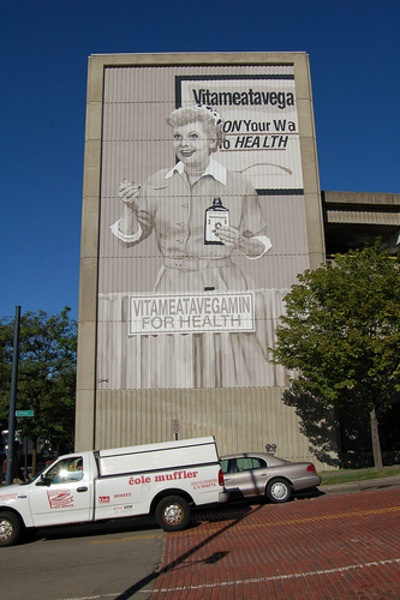 Lucille Ball mural on wall in Jamestown, NY................. would LOVE to see this one day!