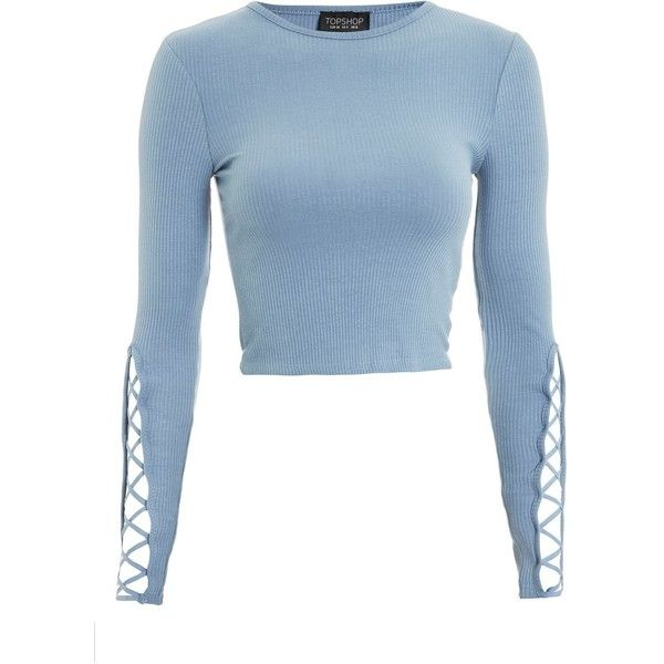 TopShop Lattice Sleeve Ribbed Cropped Top (935 UYU) ❤ liked on Polyvore featuring tops, topshop, blue, blue top, ribbed top, cut-out crop tops, long-sleeve crop tops and lattice top
