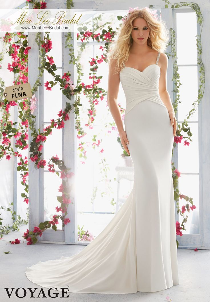 Dress Style FLNA Crystal Beaded Straps Support The Asymmetrically Draped Bodice On Lush Crepe  Colors available: White/Silver, Ivory/Silver.