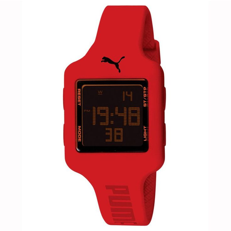 Puma PU910792006U Women's Black Digital Dial Red Rubber Strap Chronograph Watch