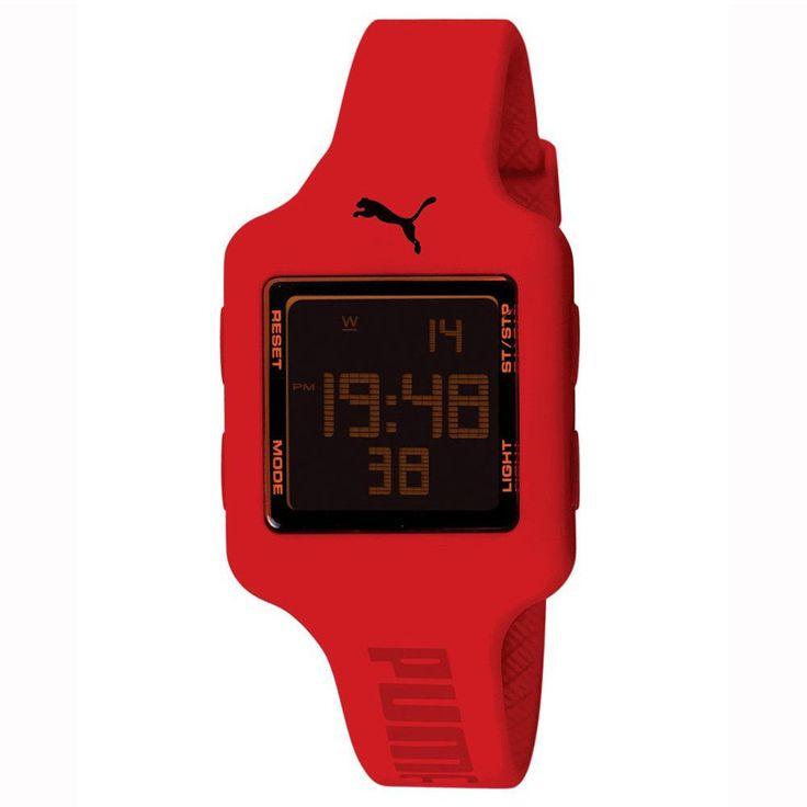 Puma PU910792006U Women's Black Digital Dial Red Rubber Strap Chronograph Watch