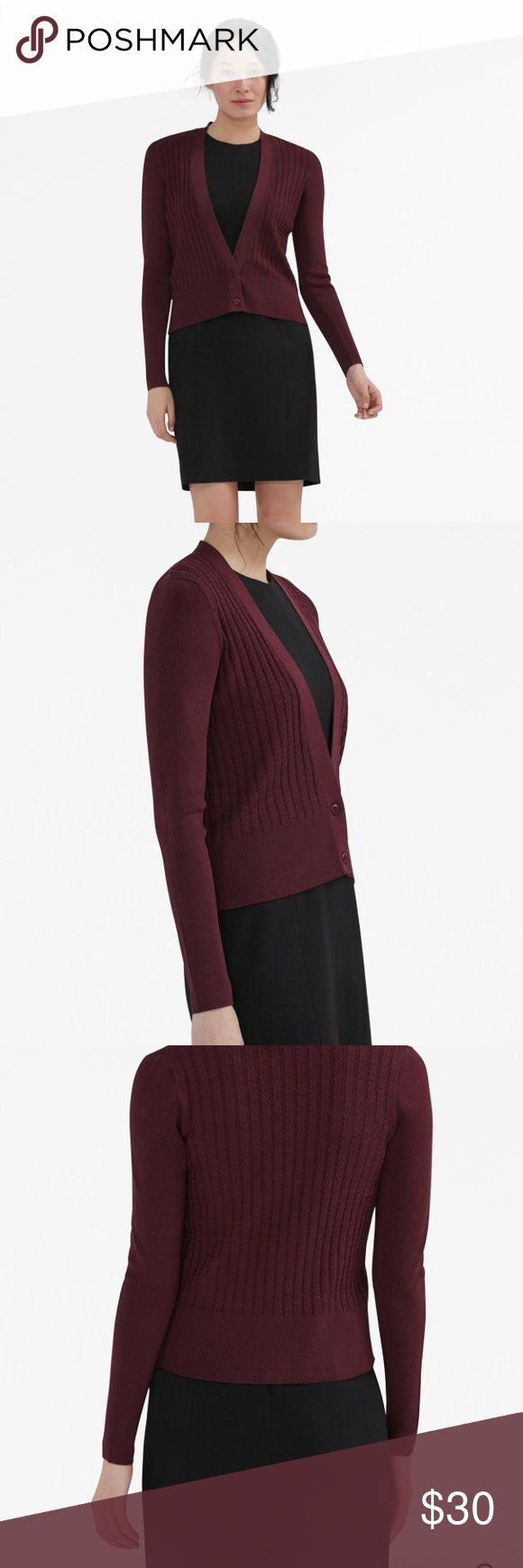 MM.LaFleur  Lange Cardigan | L A sharp take on the classic cardigan, this luxe, tuxedo-inspired piece is knit from a polished yarn in a dense, mini-cable stitch pattern | The cropped length is designed to hit at the true waist, while a low-cut V-neck shows off your favorite power dress | Italian Fabric | Burgundy | New with tags | Bundle 2+ items + receive 10% off MM.LaFleur  Sweaters Cardigans