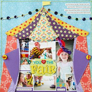 Circus Tent Paper Piecing: Circus Tent, Scrapbook Pages Layout, Paper Piecing, Festivals Summer, Tent Paper, Circus Scrapbook Layout, Summer Fun, Paper Pieces Patterns, Summer Paper