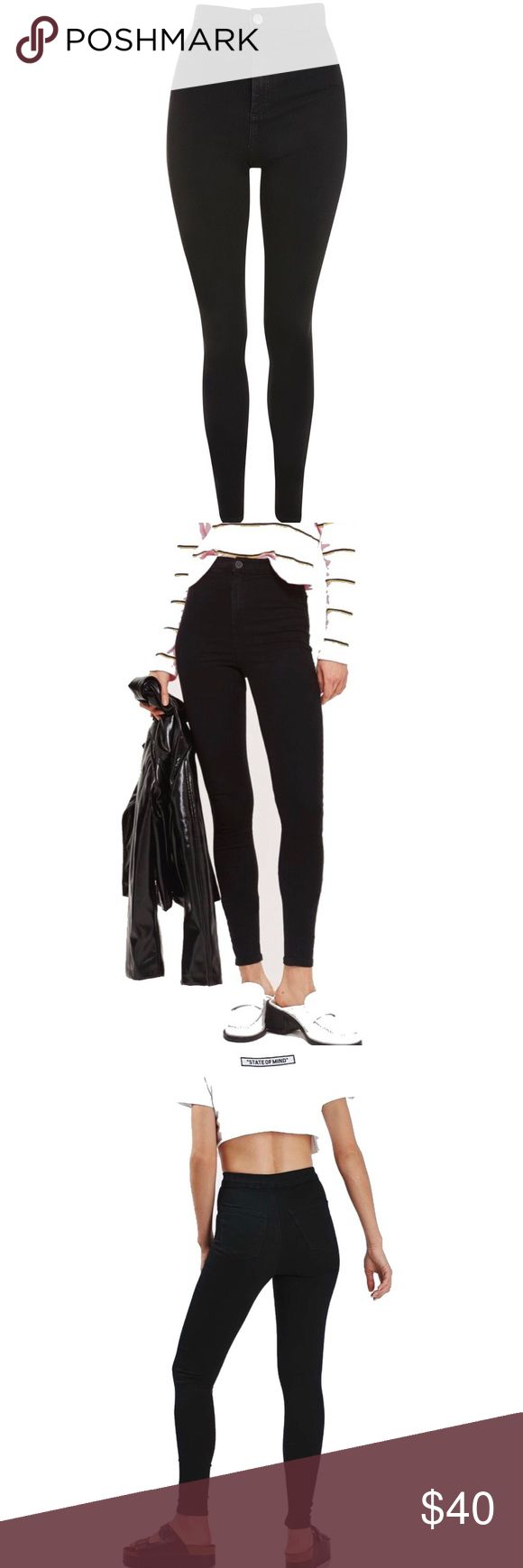 Topshop Black Joni Skinny Jeans Topshop Tall Joni Super High Waisted skinny jeans in black. W32 x L36 - listed size 31 since Joni jeans run a size small. Brand new without tags. 68% cotton, 28% polyester, 4% elastane.  Price is firm, all offers will be declined ~ Topshop Jeans Skinny