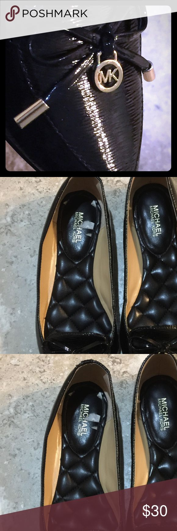 Michael Kors - Black Textured Patent flats New - Reposh - didnt fit but unable to return • runs small for a size 6, best for a size 5 • never worn, only tried on • beautiful staple • gold detail on black textured patent • NOTE: SORRY FOR THE SHOTTY PICTURES, POSH APP IS ACTING UP AND WON'T CROP PROPERLY; UPDATED PICTURES ON 8.16.17 MICHAEL Michael Kors Shoes Flats & Loafers