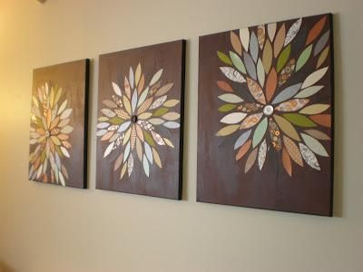 DIY Home Decor Wall Art: DIY. Could play around with the design and color to match my living room :)