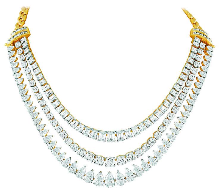 Three layered diamond necklace