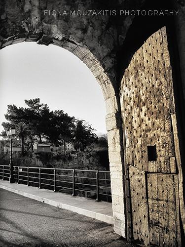 DOOR OF THE GOLD. Arch door Old Fort. Corfu Greece.