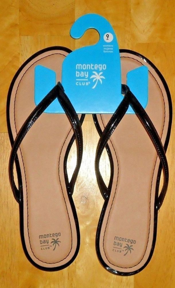 367424338b5c Montego Bay Club Women s Flats Flip Flops Sandals Black Patent Sizes 8-12  NWT