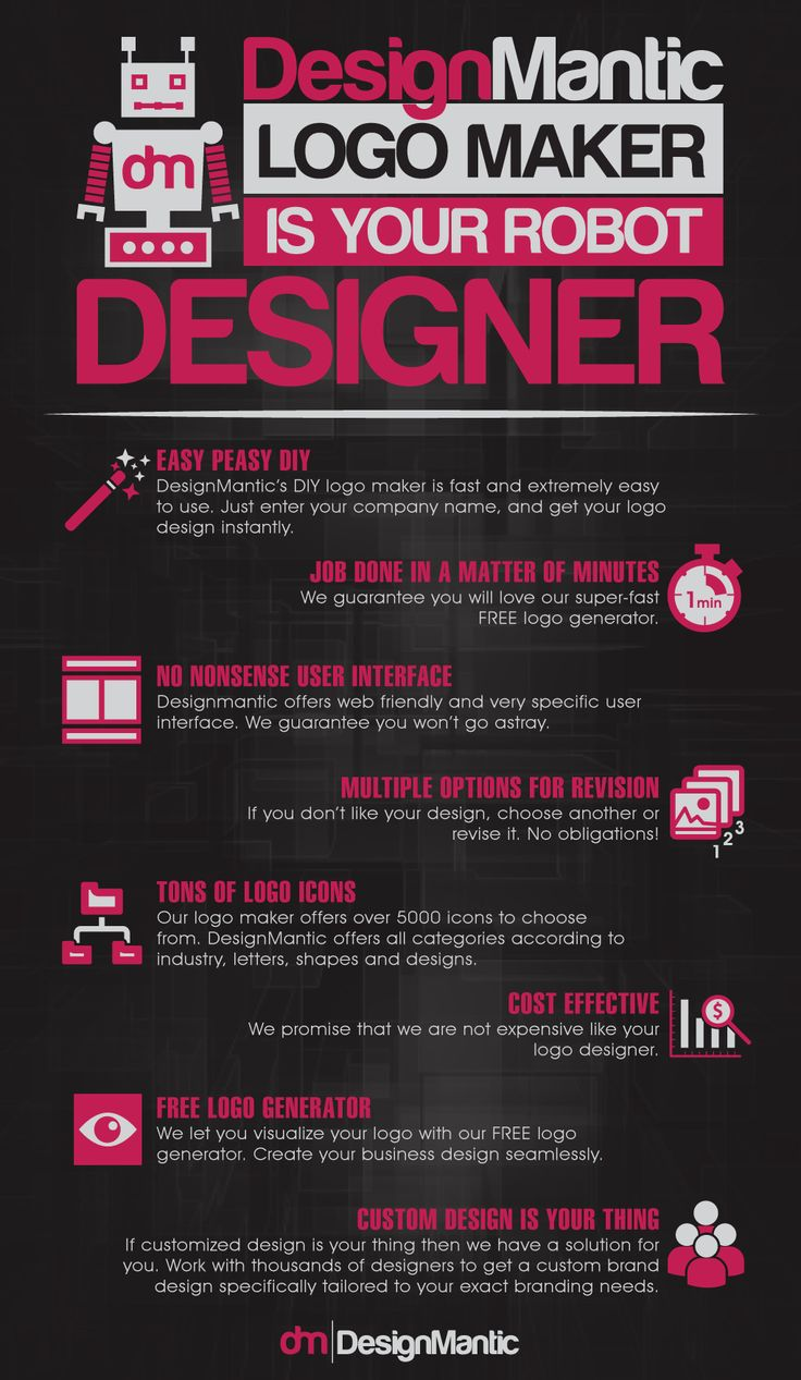 DesignMantic Logo Maker Is Your Robot Designer! | http://www.designmantic.com/blog/infographics/logo-maker-your-robot-designer/
