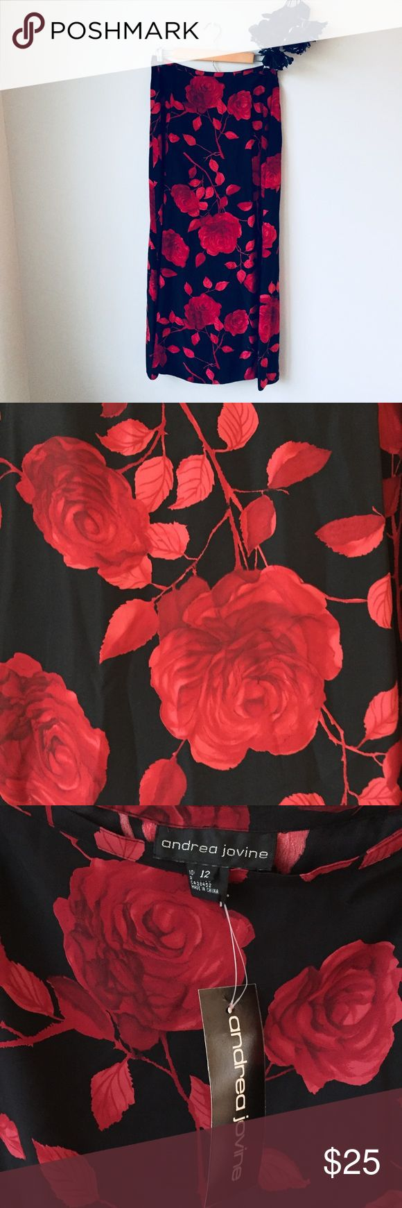 Silk red and black floral maxi skirt NEW WITH TAGS. Andria Jovine brand red and black floral printed maxi skirt. The tag says size 12 but it fits like a medium.  100% silk Andrea Jovine Skirts Maxi