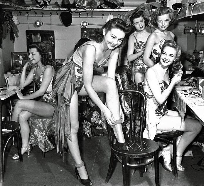 Showgirls backstage at Billy Rose's Diamond Horseshoe,1941