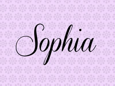 Sophia. Click through for the rest of the top 10 names for baby girls in Canada.