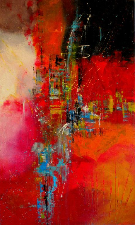 """Judy """"JJ"""" Jacobs painting reminds me of a cityscape."""