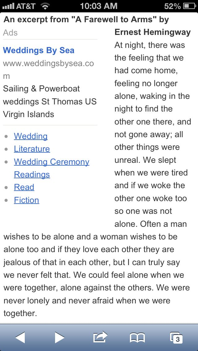 Hemingway Wedding Reading