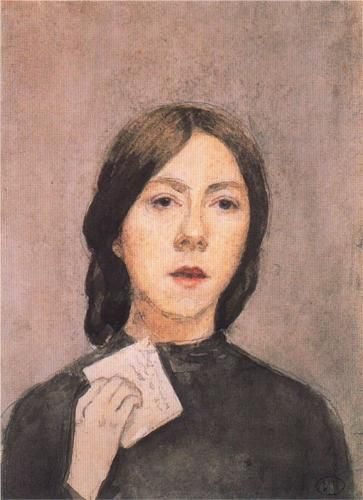 Self Portrait with Letter (1907) by Gwen John via Wikipaintings.