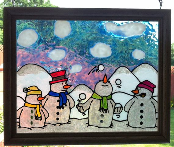 Juggling Snowman Stained Glass Look by CreativeGlassByBecky