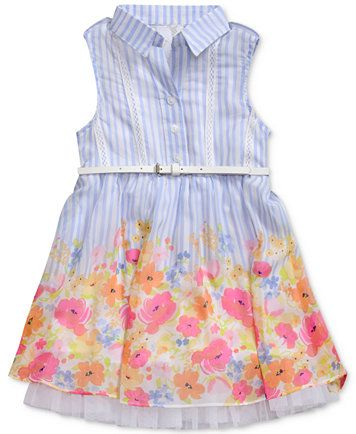 926e954e4 Image 1 of Sweet Heart Rose Striped Floral-Print Shirtdress, Little Girls