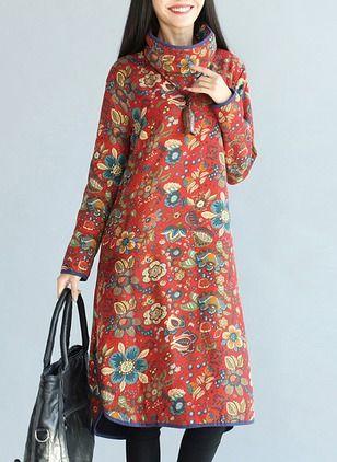 Cotton Blends Floral Long Sleeve Mid-Calf Vintage Dresses (1025140) @ floryday.com
